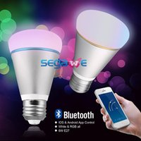 Wholesale 6W Bluetooth Smart Lamp Bulb IOS Android AC V V App Control SEGAWE E27 RGB LED Lighting