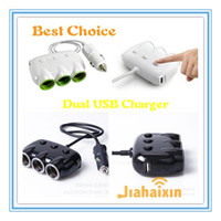 Wholesale Dual USB Car Charger Way Auto Cigarette Lighter Charger Socket Splitter Adapter For iphone GPS