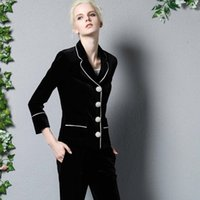 Wholesale New Arrival Autumn Women s Turn Down Collar Sleeves Pearls Button Blazers with Ankle Length Pants Elegant Twinsets