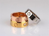 Wholesale 316L Stainless Steel Ring Fashion Brand k Gold Diamond Setting Screw Love Couple Rings High Quality Jewelry