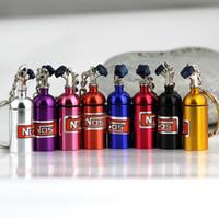 Wholesale 100pcs car styling Mini Nitrous Oxide Bottle Turbo Keyring Keyfob Stash Pill Box Storage Anodised nos Key Chain Ring K00036