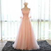Cheap Evening Dress 2016 New Bride Banquet Sweet Pink Scoop Neck Half Sleeve Transparent Lace Embroidery A-line Long Prom Formal Dress