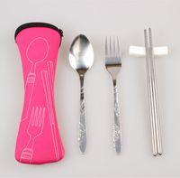 Wholesale Portable Stainless Steel Fork Spoon Chopsticks Outdoor Tableware Camping Travel Canvas Zipper Tableware Three Piece Dinnerware Set