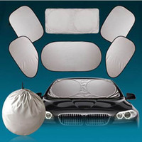 Wholesale 6pcs Set Silver Aluminium Foil Flap Car Sun Shade Window Car Curtain Auto Sun Shade Styling Covers Rear Head Back Side Window