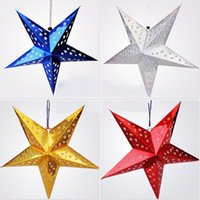 Wholesale Christmas Ornaments Party Christmas Tree Hanging Star Christmas Tree Five pointed Star Toppers have size