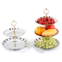 Wholesale Sliver Gold Fruit Plates Stand Pastry Tray Candy Dishes Cake Desserts Tier Layer Stainless Steel Party Home Decoration