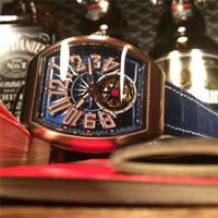 auto strap - Top quality luxury watches Tourbillon movement Automatic mechanical men watches Tonneau case Leather strap Hollow Watches