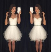 Wholesale Short A Line Spaghetti Strap Graduation Dresses Strapless Sweetheart Pleat Crystal Sequin Beads Tulle Homecoming Prom Dresses