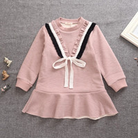 Wholesale Long Sleeved Dress Korean - Baby Kids Clothing Girl's Dresses Korean Style Children Clothes Girl Long Sleeved Solid Color Preppy Look One-piece Kids Tutu Dresses 9551