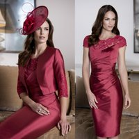 autumn john - 2016 John Charles Burgundy Mother Of The Bride Dresses With Cap Sleeves Sheath Knee Length Formal Dress For Wedding Mother Groom Gowns