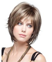 Wholesale Ms European and American fashion mixed color wig short curly brown wig fluffy short wig Hot