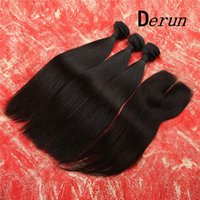 Wholesale 3 Bundles Brazilain Straight Human Hair With Free Closure inch hair Weave Unprocessed A Hair Extensions