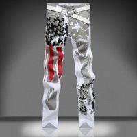 designer casual jeans - designer Casual American USA Flag Printed White Robin Jeans for men Graffiti Print Jean Slim Fit Trousers Plus Size