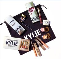 Wholesale Full set in stock Kylie Jenner Limited gold Birthday Edition lipsticks Matte liquid Lipstick mini gold lipgloss kit DHL