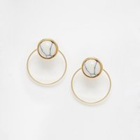 asos black - European and American wind fashion jewelry ASOS website personality trend white stone composite stud earrings Double with female s