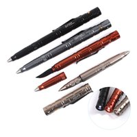 aluminium alloy steel - B007 Multi function Aluminium Alloy Tactical Pen Self defense Sign Pen With LED Light Stainless Steel Knife Tungsten Steel Breaking Head
