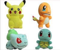 plush toys - 4pcs set Poke Pikachu Bulbasaur Squirtle Charmander Plush Toys Stuffed Baby Doll quot cm high quality