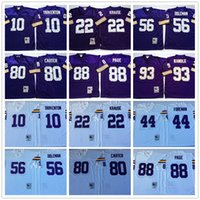 Wholesale Throwback Fran Tarkenton Paul Krause Chuck Foreman Chris Doleman Cris Carter Alan Page John Randle White Purple Home Away Jerseys