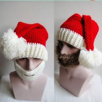 big beard - Hot Sale Christmas hats Handmade Knitted Cap Soft Winter Men Women Wool Beanie Cap with Big Beard