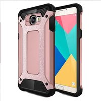 a910 - For Samsung A9 A910 Back Cover Phone Shell Tough Metal Brush Armour Luxury Dual Colors Crashproof Shockproof Dustproof Phone Case Brand