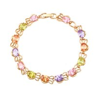 Wholesale American Style K Gold Plated Copper Bracelets For Women Mix Color Zirconia Link Chain Xuping Brand Copper Jewelry Bracelet for Gift