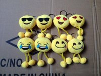 Wholesale HOT Design Emoji Smiley Keychains cm cellphone pendant cute yellow Stuffed Plush doll toy bag pendant