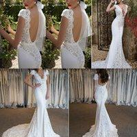 Wholesale Silk Satin Wedding Skirt - 2016 Summer Berta Beach Wedding Dresses Mermaid Capped Sleeves Lace Bridal Dresses Chapel Train OPen Back Garden Country Wedding Gowns