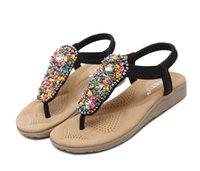 beaded shoe clips - New Fashion women Shoes Cozy Women Sandals Beaded Flat Sandals Bohemia Toe Clip Sandals Rome Shoes