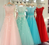 Wholesale Mint Lace handmade floral bridesmaid dress blush sexy sheer tulle off shoulder prom dress evening mother of the bride dress