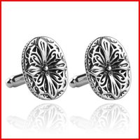 Wholesale Ancient Silver Flower Cufflink Cuff Links Collar Button for women men Dress suit Cufflinks Jewelry Best Friend Christmas gift
