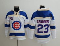 Wholesale Chicago Cubs Ryne Sandberg Hoodie Discount Cheap Champion Sweater Lace Up Pullover Hooded Sweatshirt Stitched Baseball Hoodies for Men