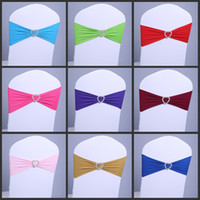 Wholesale price spandex chair band with heart shaped plastic buckle lycra band for Wedding Chair Cover Sashes Wedding Party Decor