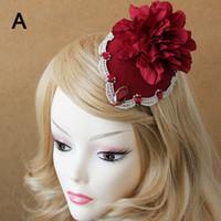 Wholesale Bohemian Lolita Lace Flower Fascinator Hat Clip Pin Bridal Wedding Beach Show Hair Clips Women Masquerade Party Hair Accessory Barrettes