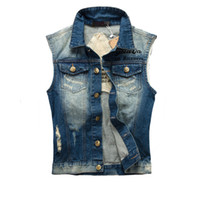 Wholesale Fall New Fashion Mens Denim Vest Vintage Sleeveless washed jeans waistcoat Man Cowboy ripped Jacket Plus Size XL Tank Top YA213