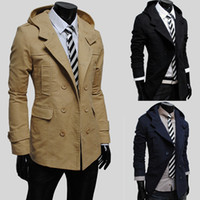 Wholesale Suited Man Trench Coat Cotton Winter Mens Trench Hooded Casual Single Breasted Long Pea Overcoats For Men Solid Mult color Trench J160754