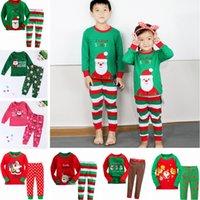 Wholesale 8 Styles Christmas Santa Long Sleeve Pajamas Set Kids Cotton set Pajamas Children s Sleepwear Homewear Pants Suit For Boys Girls PPA222