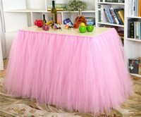 baby shower tableware - Many colors Tulle Tutu Table Skirt Tulle Tableware for Wedding Decoration Baby Shower Party Wedding Table Skirting