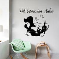 bath pet shop - Home Decor Wall Sticker New Arrival Animals Vinyl Wall Decal Pet Grooming Salon Dog Bath Wall Sticker Pet Shop Pet