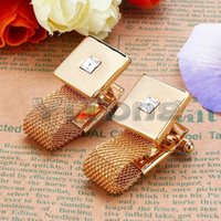Wholesale 1Pair Luxury Gold plated Chain Cufflinks Crystal Men s shirts Cuff Links Crystal Cufflinks With Chain for Wedding Gift