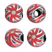 bead union - Presale UK Flag Bead Made From Sterling Sivler FitS European Bracelet Union Jack Style Jewellery No50 Lw Pr001