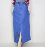 beaded jeans skirts - New Fashion High Quality Beaded Embroidery Flower Straight Long Maxi Denim Jeans XL Women Skirt With Slit Hot Sale