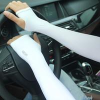 Wholesale Summer women s men s outdoor driving riding travel sports sunscreen thin ice silk cool long gloves cuff oversleeve sleevelet