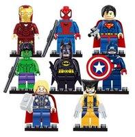 Wholesale 8pcs Marvel Avengers Super Hero Minifigures Building Blocks Sets Kids figures toy Bricks Superman Iron Man Hulk Batman spiderman