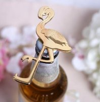 beach openers - New Arrive SUNTEK Summer Beach Gold Metal Special interesting Flamingo Bottle Opener Anniversary Wedding decoration