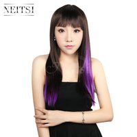 Wholesale Neitsi inch g Colors Optional Straight Synthetic Hair Clip in on Hair Extensions Synthetic Hair Ombre Highlight Extensions