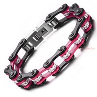 best bicycle chain - Top White Crystal Drill Top Quality Stainless Steel Men Women s Bicycle Chain Pink Black Bracelet For men Best Gift