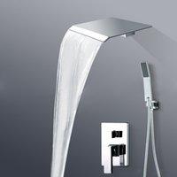 Wholesale Wall Mount Single Handle Mixer Valve Shower Set Faucet Waterfall Rain Shower Head BR PB