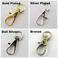Wholesale 20Pcs Gold Silver Bronze Swivel Lobster Clasp Clips Key Hook Keychain Split Key Ring Findings Clasps For Keychains Making mm
