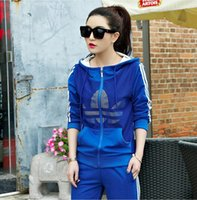 ad pieces - 2016 spring and summer hot sale new women s Harajuku sports suit women large size two piece female hooded ads sportswear