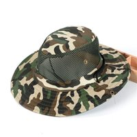 Wholesale 2016 new Outdoor Airsoft Camouflage Bucket Hats army Unisex Fishing hat Tactical Boonie Hats outdoor topee One Size for cm